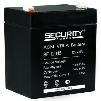 Свинцово кислотный аккумулятор Security Force SF 12045