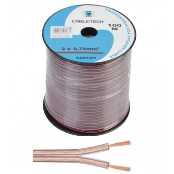 Кабель акустический Cabletech 2х0.75 мм2 (42х0.15мм) CCA, 100м, прозрачный