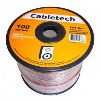 Кабель акустический Cabletech 2х1.5 мм2 (85х0.15мм) CCA, 100м, прозрачный