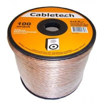 Кабель акустический Cabletech 2х2.0 мм2 (3х37х0.15мм) CCA, 100м, прозрачный