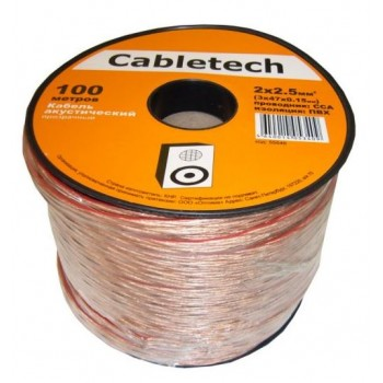 Кабель акустический Cabletech 2х2.5 мм2 (3х47х0.15мм) CCA, 100м, прозрачный