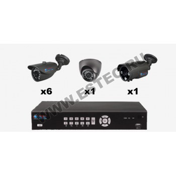 Комплект для автостоянки из 8 камер видеонаблюдения