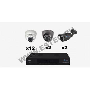 Комплект для склада и производственных цехов из 16 камер видеонаблюдения