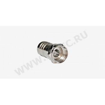 F-разъем на кабель RG-6U, обжим, латунь-цинк